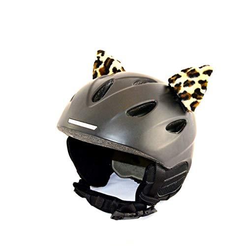 Helm-Ohren Tierohren für den Skihelm, Snowboardhelm, Kinder-Helm, Kinder-Skihelm oder Motorradhelm - verwandelt den Helm in EIN EINZELSTÜCK - Tier-Helmohren HELMDEKO (Leopard)