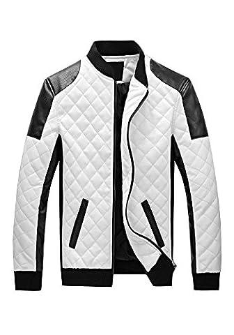 DOOXIUNDI Men's Latticed Baseball Bomber Faux Leather Jacket (3XL, white)