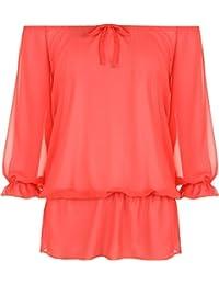 WearAll Women's Chiffon Gypsy Boho Sheer 3/4 Sleeve Off Shoulder Top 14-28