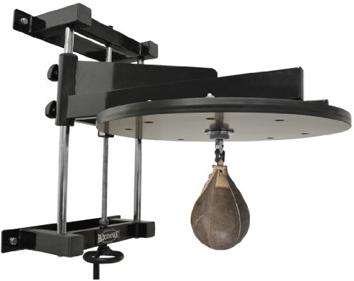 Deluxe Speedball Plattform Set inkl. Drehkugellagerung schwarz und Rindsleder Boxbirne med. braun / Boxapparat für die Wandmontage BCA-38