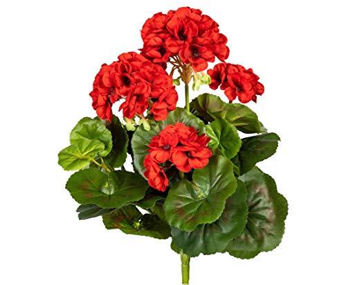 Geranie Kunstblume mit 5 roten Blüten 42cm hoch und 33 Blättern - Kunstpflanze künstliche Blumen Kunstblumen Blumensträuße künstlich, Seidenblumen oder Blumen aus Plastik Kunststoff