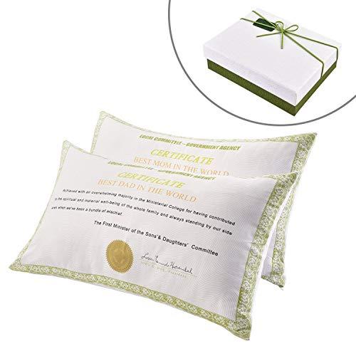 Federa decorativa per cuscino in tessuto traspirante, ottimo regalo per la festa della mamma, festa del papà, compleanni, matrimoni, anniversari, natale (confezione regalo inclusa)