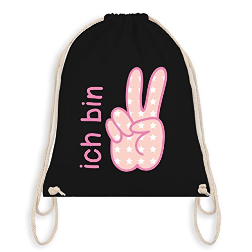 Geburtstag Kind - Ich bin 2 Mädchen Zeichensprache - Turnbeutel I Gym Bag Schwarz
