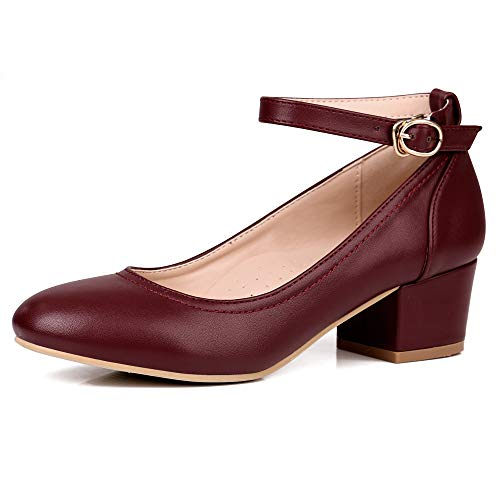 Zapatos de Mujer Robasiom con Zapatos Bajos, tacón Grueso, cómodos Zapatos Mary Janes, con Correas...