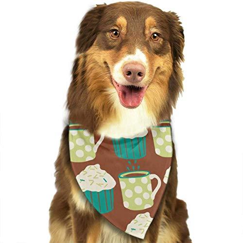 Sdltkhy Coffee and Cupcake Pet Scarf Dog Bandana Bibs Triangle Head Scarfs