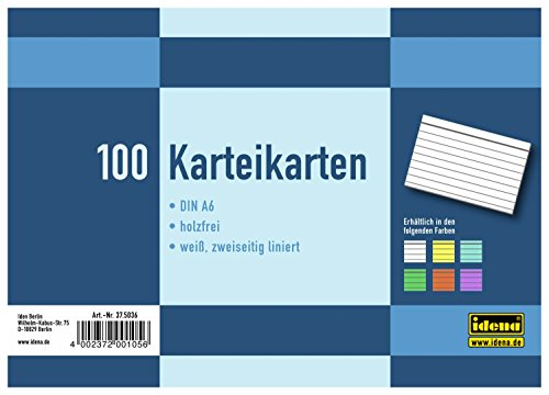 Idena 375036 - Cartoncini per schedario, DIN A6, 100 pezzi, a righe, colore bianco