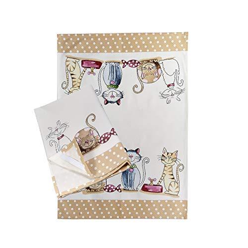 SPOTTED DOG GIFT COMPANY 2er Set Geschirrtücher Küchentücher Trockentücher Küche aus 100% Baumwolle 50 x 70 cm, niedliches Katzen-Motiv Katze Geschenk für Katzenliebhaber und Köche