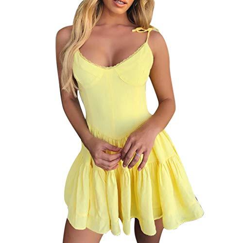 Kingko® Damen V Ausschnitt Kleid Spitzenkleid Träger Rückenfreies Kleider Sommerkleider Strandkleider Rückenfreies Kleider Elegant Strandkleider Minikleid (XL, Gelb) -