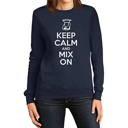 Keep Calm and Mix On - Motiv für Thermomix Liebhaber Frauen Sweatshirt XX-Large Marineblau
