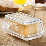 Kilner Glass Butter Dish - Vintage Butter Serving Tray with Lid, Ideal for Home Made Artisan Butter