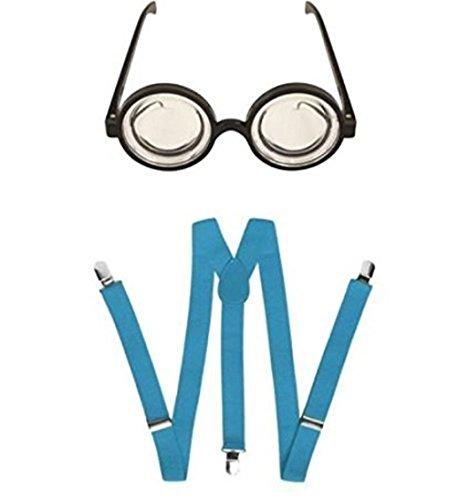 Blue Planet Online Brille & Hosenträger, Runde Gläser blau Minion-Stil Einheitsgröße (Für Minion-kostüm Schutzbrillen)