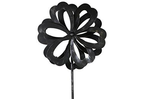 TS Gardendeco Éolienne Fleurs Iron, revêtu de poudre et handpainted, Platine