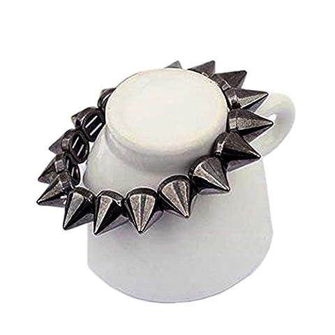 Rock Punk Gothic Style Spike Stud Rivet Elastic Stretch Bracelet Bangle (Black)