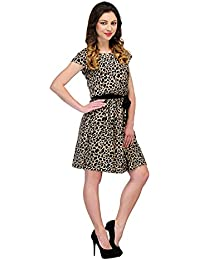 SWAGG Black & Brown Animal Print Casual Dress (SWAGGD07-X-Large, Brown, X-Large)
