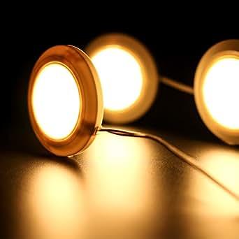 Lychee Kit de 3 LED Eclairage sous Vitrine - 3 Pcs 1,5W RGB Couleur Changeante LED Projecteurs avec Adaptateur pour Placard / Vitrine de Cuisine / sous Comptoir Eclairage Lampe Ronde LED – Blanc chaud