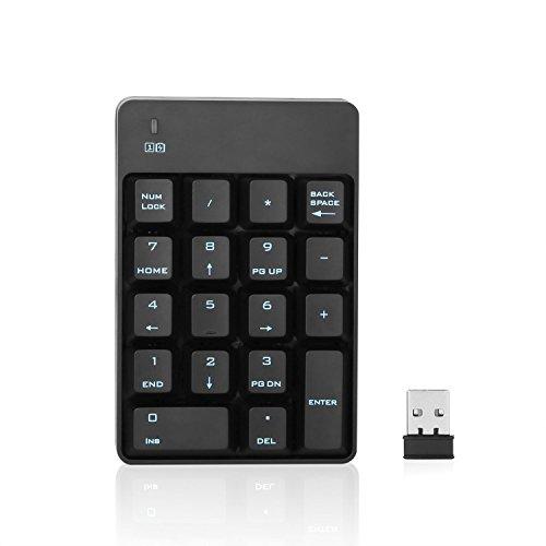 Jelly Comb Tastierino numerico USB senza fili 2,4 GHz 18 tasti standard con nano ricevitore per il computer portatile / iMac / Macbook / Scaffale, Nero