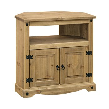 Corona Mexican Style Waxed Pine Corner TV Cabinet 800w x 425d x 781h mm