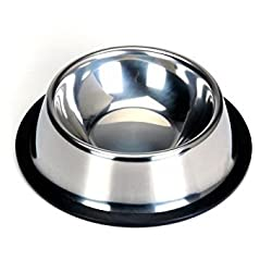 2 : TOOGOO(R) Stainless Steel Food Bowl w/ Rubber Ring for Pet Dog Cat (A3)
