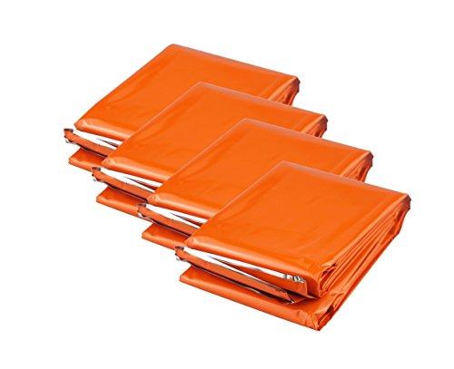 Rettungsdecken PE Rettungsfolie(4 Stück) Farbe: Orange, Large Größe: 210cm x130cm, Beibehaltung 90% der Körperwärme eines Benutzers