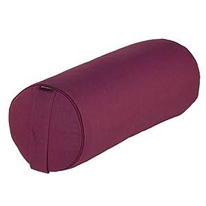 Yoga- und Pilates-Bolster BASIC 65 x Ø 23 cm, aubergine, Yoga Hilfsmittel mit Kapok gefüllt, besonders leichte Yoga-Rolle mit Kapokfüllung