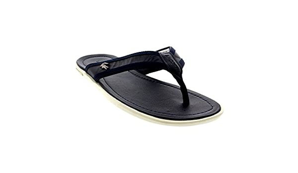 cf956b02c Lacoste Mens Carros 6 Beach Leather Holiday Slip On Flip Flops Sandals -  Dark Blue - 12  Amazon.co.uk  Shoes   Bags