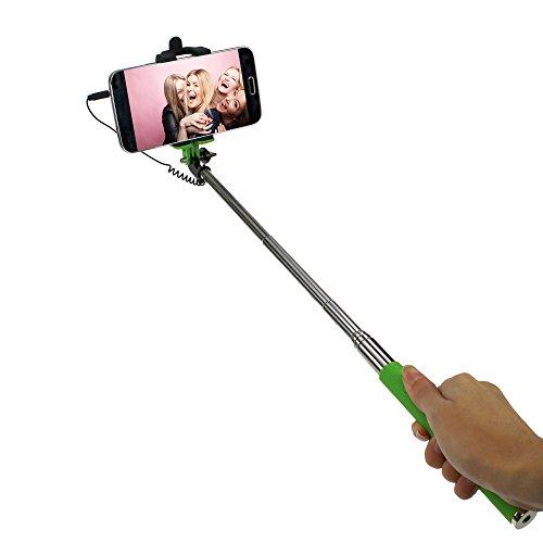 STYLETEC ausziehbare Selfie Stange / Stick / Stab mit Handschlaufe - Kabelsteuerung (grün)