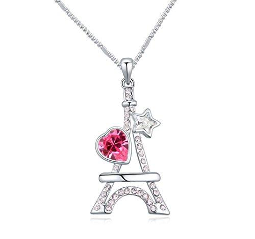 Sojewe Mode Schmuck Weißsgold Vergoldet im Eiffelturm Anhänger rosa rot braun Swarovski Elementen Kristall
