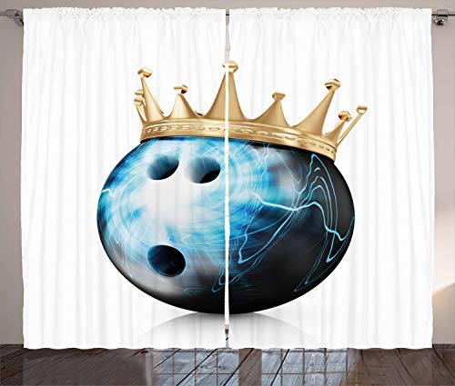rty Rustikaler Gardine, Ball mit Krone, Schlafzimmer Kräuselband Vorhang mit Schlaufen und Haken, 280 x 260 cm, Himmelblau Beige Schwarz ()