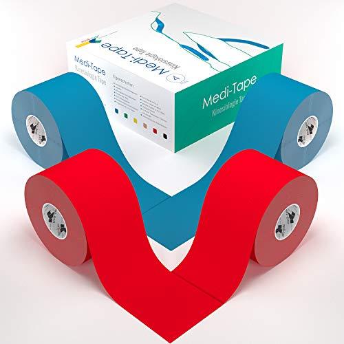 2x Rot 2x Blau 1xGittertape Big Mix Medi-Tape, 4x Kinesiologie Tape (5 cm x 4,50 m), 100% Baumwolle - Medi-packungen