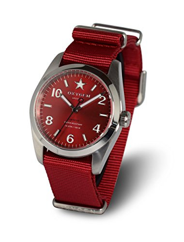 Oxygen Ruby 38 Unisex Quartz Watch with Red Dial Analogue Display and Red Nylon Strap