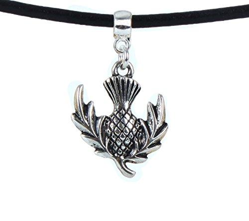 Preisvergleich Produktbild Thistle Flower Bloom Blossom handgefertigt Premium Qualität Leder Halskette String/Choker/Halsband/Halskette (Léon) Snug Halskette 35,6cm–40,6cm