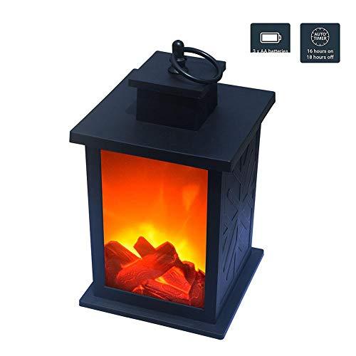 Ablerfly dekorative Kaminlaterne flackernde Flammeneffekt-LED-Tischlaterne hängende Innen- / Außenlaterne, dekorative Kerzenlaterne schwarz Landmark -