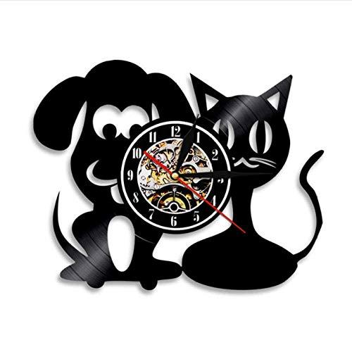 clockfc Reloj de Pared para Gatos y Perros Clínica de Mascotas Decoración de Pared Disco de Vinilo Reloj Vintage Habitación para niños Vivero Reloj de Pared Regalo de Veterinario