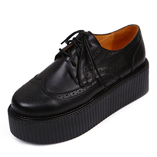 RoseG Mujer Zapatos Plataforma Gótico Punk Enredaderas Creepers Cordones Negro Size35
