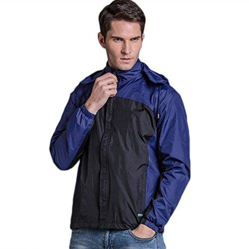 YOUJIA Homme Veste Imperméable Blouson Coupe Vent avec Capuche Repliable Respirant Bleu