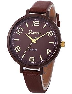 Vovotrade Damen Frau feste Kunstleder casual Uhren Quartz(braun)