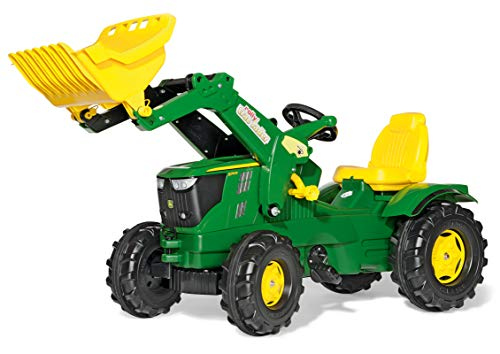 Rolly Toys rollyFarmtrac Trettraktor John Deere 6210R (inkl. rollyTrac Lader, Front- und Heckkupplung, für Kinder von 3 bis 8 Jahre) 611096 (John Deere Motorhaube)