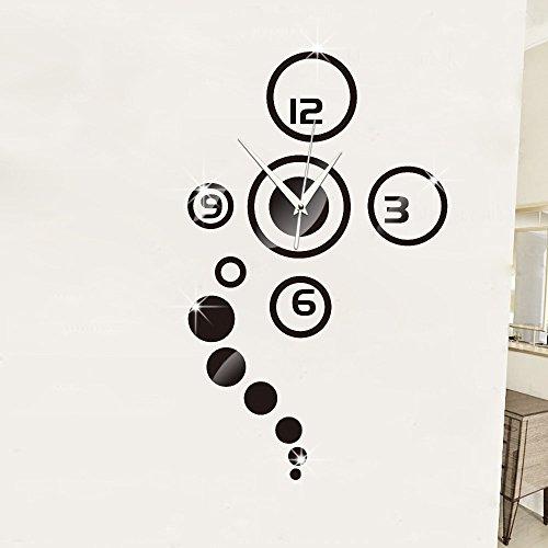 Ufengke® 3D Cercles Rond Effet De Miroir Horloge Murale Stickers Muraux Design À La Mode Art De Décalque Décoration Créative De La Maison Noir