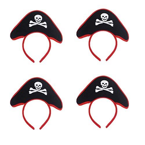 Lurrose 4 stücke Piraten Kostüm Haarreifen Stirnband Piraten Hut Kopfbedeckung Halloween Karneval - Piraten Kostüm Mini Hut