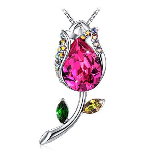 TOJEAN 'Flor de la Felicidad' Colgantes Mujer Collar, Fabricados con Cristales Swarovski,...