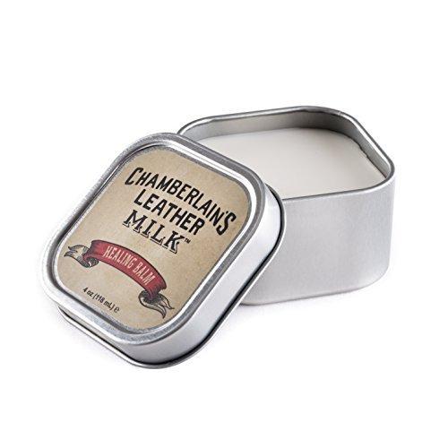 Chamberlain's Leather Milk - Healing Balm - Leder-Conditioner - tiefenwirksam - für verhärtetes, rissiges & zerkratztes Leder - Naturbasis/ungiftig - Hergestellt in den USA - 1 Auftrageschwamm (Sattel Schuhe Neuen)