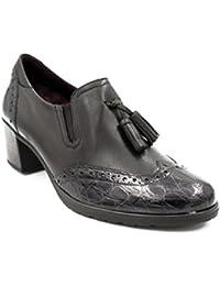 Zapato Mujer Copete PITILLOS - Piel Color Negro Combinado con Coco Charol Negro - 1246-