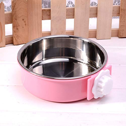 Light Blue Plastic Bowls (DERNON Edelstahl Pet Bowl Cage Dog Bowl Hängende Wasserzufuhr Pink S pink)