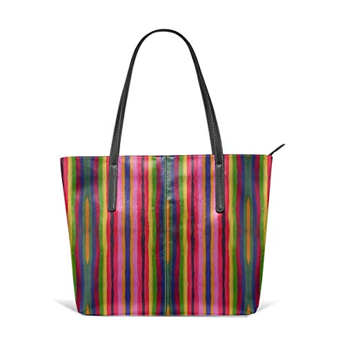 aus weichem Leder Mexi Color Stripe Bright Multi Fashion Handtaschen Satchel Purse ()