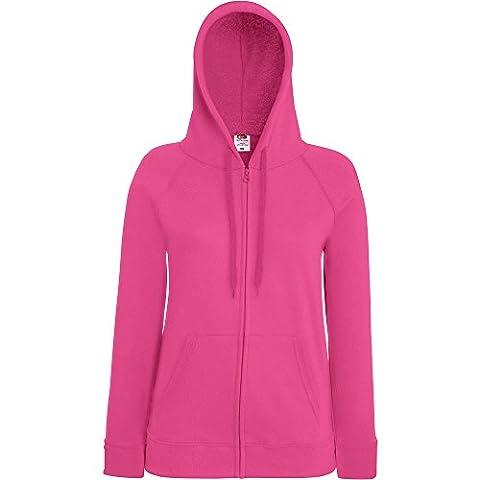 Fruit Of The Loom Ladies Lady Fit Full Zip Hooded Sweatshirt Pink
