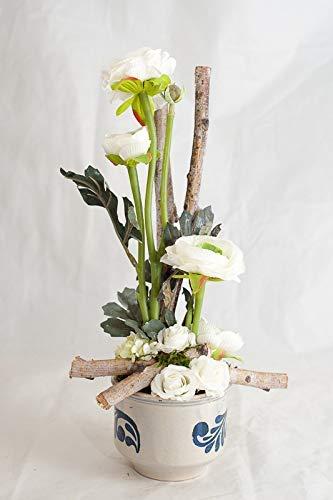 Tischgesteck Mit Orchidee Und Sukkulente Im Weissen Glascube