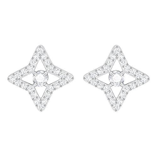 Swarovski Orecchini Stud Sparkling Dance Star, bianco, placcatura rodio