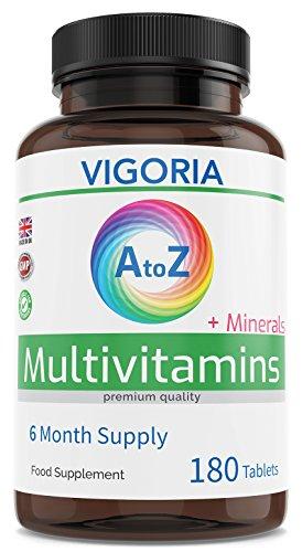 Multivitamines et Minéraux AZ Formule Complète 180 Comprimés - 6 Mois d'approvisionnement - Complément Alimentaire Multivitaminique pour la Santé et le Bien-être Général - pour Homme et pour Femme | Made in UK