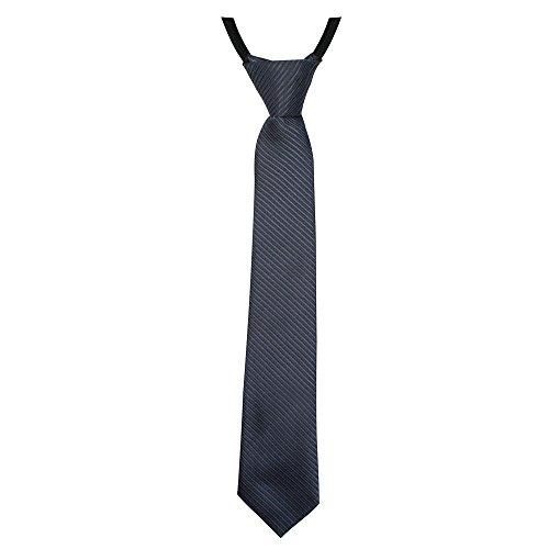 Soul-Cats® gestreifte Jungen/Kinder Krawatte 30cm lang, vorgebunden und verstellbar, Farbe: anthrazit Krawatten Krawatten Krawatten