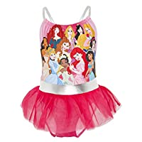 Disney Princess Swimming Costume, One Piece Girls Swimsuit With Disney Princesses Cinderella, The Little Mermaid Ariel, Jasmine, Disney For Girls 2-10 Years
